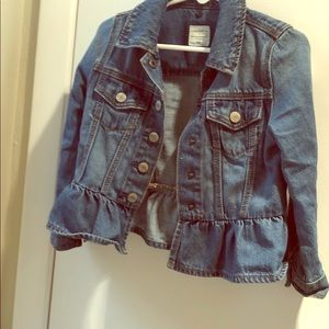 Little girls denim jacket with ruffle